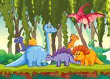 Fototapeta Dinusie - Different dinosaur in forest