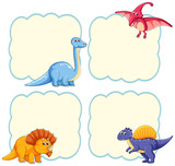 Fototapeta Dinusie - Cute dinosaur frame template