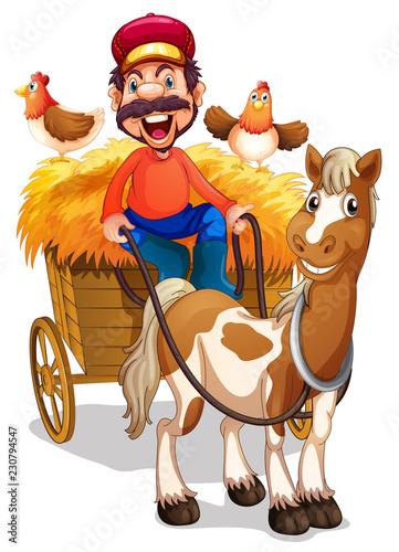 Poster Ranch A farmer riding horse cart