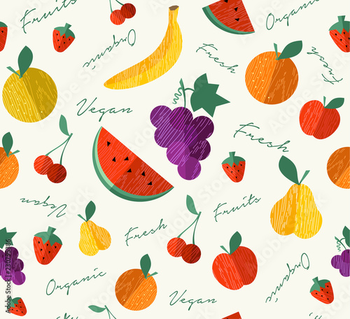 Fresh Organic fruit for vegan food seamless pattern