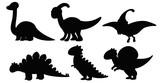 Fototapeta Dinusie - Set of silhouette dinosaur