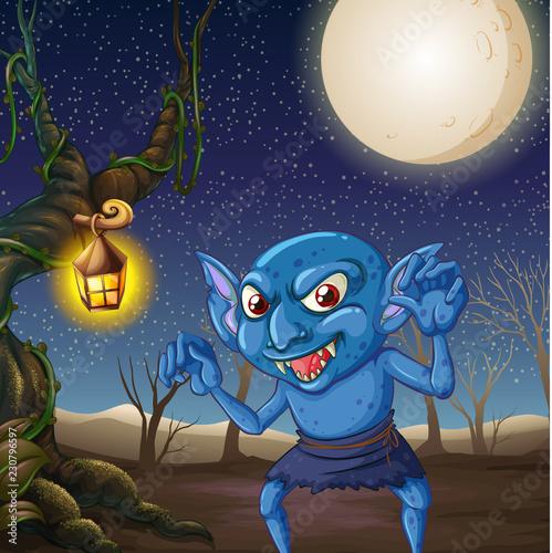 Scary goblin at night scene