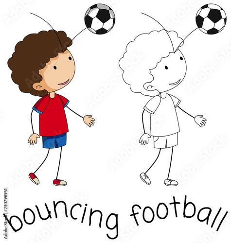 A doodle boy bouncing football