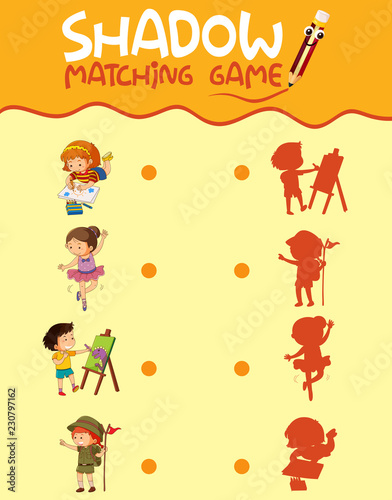 Children activity shadow matching game