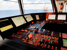 Wheelhouse Of A Modern Offshore Ship With Dynamic Positioning Systems