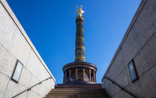 Victory Column In Berlin, Germany, Blue Sky, Low Angle.