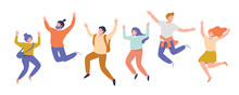 Group Of Young Happy Laughing People Jumping With Raised Hands. Friendship. Vector Flat Cartoon  Illustration Isolated On White Background.