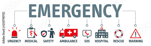 Vászonkép banner emergency vector design concept