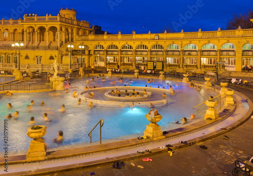 Szechnyi thermal bath spa in Budapest Hungary Canvas Print