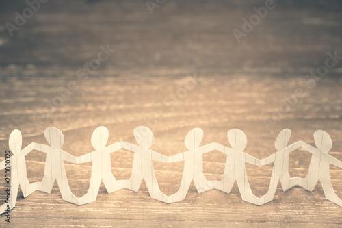 Fotografie, Obraz  Paper Human Chain