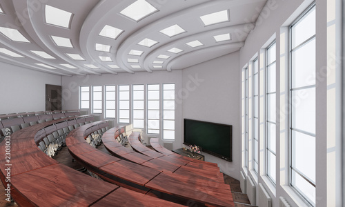 Wide Angle View of a Lecture Room 3d rendering