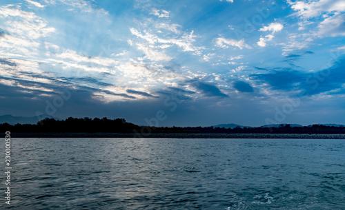 Printed kitchen splashbacks Fishing Sunrise over the ganga river in Haridwar