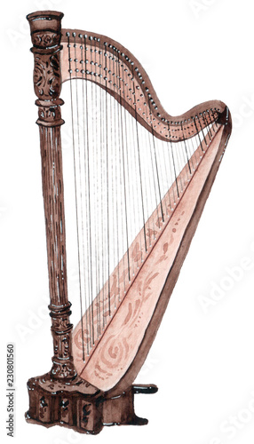 Watercolor musical strings instrument, harp isolated on white background Canvas Print