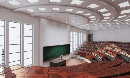 3d rendering of High Angle View Inside a Conference Hall Wallpaper Mural
