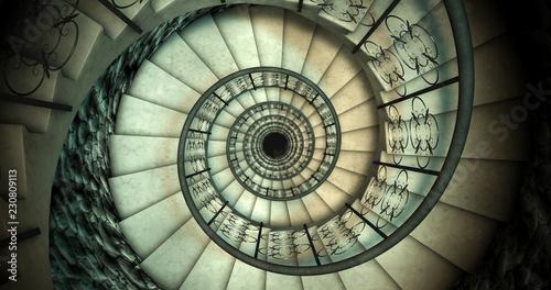 Niekończące się stare spiralne schody. Renderowania 3D