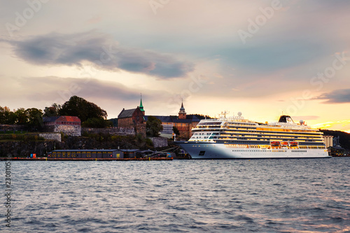 An Oslo Bay at sunrise in Oslo, Norway, on a cloudy windy morning