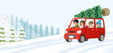 Cartoon young family riding the car which loaded the Christmas tree - Winter nature background