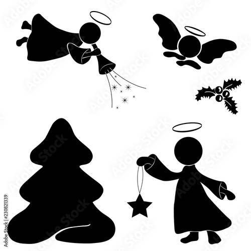 Christmas Holly Silhouette.Christmas Set Silhouettes Of Angels Christmas Tree And