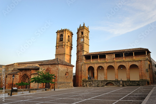 Alcaraz, Spain - October 21, 2018: The tower of the Church of the Holy Trinity and the tower of El Tardón together make up the famous Alcaraz Towers.