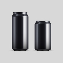 Black Can Vector Visual, Ideal For Beer, Lager, Alcohol, Soft Drinks, Soda, Fizzy Pop, Lemonade, Cola, Energy Drink, Juice, Water Etc. Drawn With Mesh Tool. Fully Adjustable & Scalable, Vector.