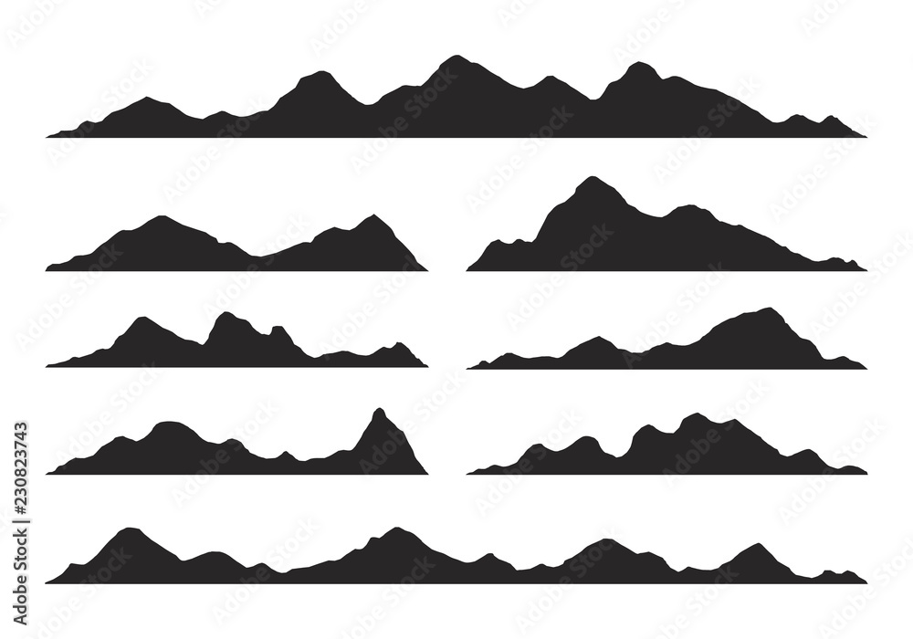 Fototapety, obrazy: Mountains silhouettes Vector