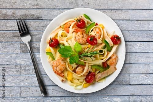 Delicious italian pasta in white plate