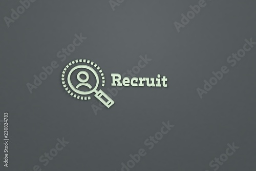 Fotografía  3D illustration of Recruit, light-green color and light-green text with grey background