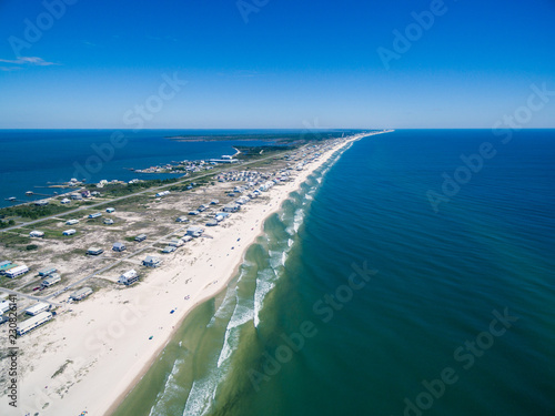 Drone/Aerial ocean photograph of the Gulf Shores/Fort Morgan peninsula Wallpaper Mural