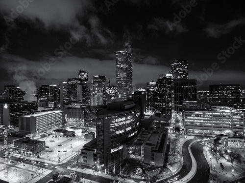 Aerial drone black and white cityscape of the capital city of Denver Colorado at night