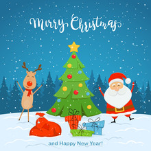 Santa Claus And Reindeer With Christmas Tree On Snowy Background