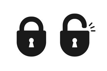 Black isolated icon of locked and unlocked lock on white background. Set of Silhouette of locked and unlocked padlock. Flat design.