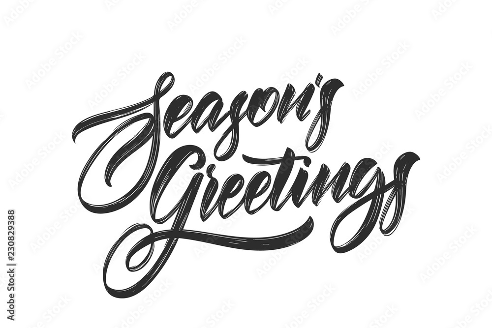 Fototapeta Vector illustration. Handwritten calligraphic brush lettering of Seasons Greetings isolated on white background