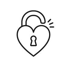 Black Isolated Outline Icon Of Unlocked Heart Shape Lock On White Background. Line Icon Of Heart Shape Lock.