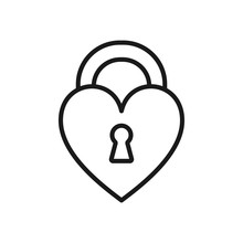 Black Isolated Outline Icon Of Heart Shape Lock On White Background. Line Icon Of Closed Heart Shape Lock.