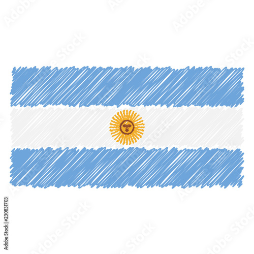 Fotografie, Tablou  Hand Drawn National Flag Of Argentina Isolated On A White Background