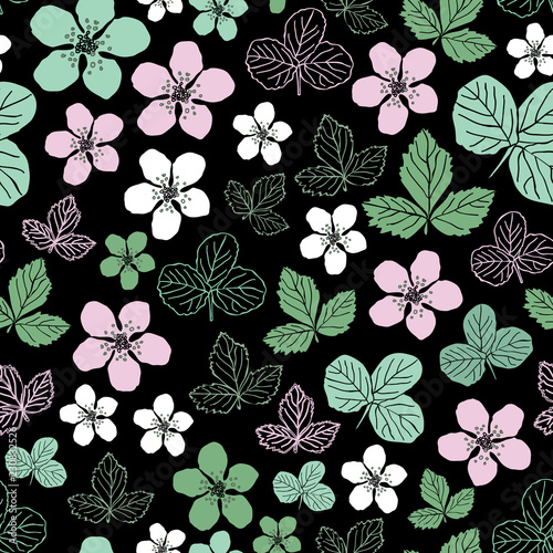 Fényképezés  Dewberry Blossom-Flowers in Bloom, Seamless Repeat Pattern