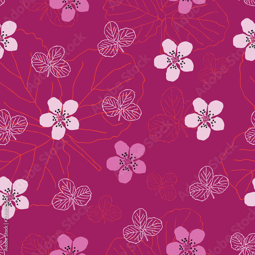 Fényképezés  Dewberry Flowers-Flowers in Bloom,Seamless Repeat Pattern