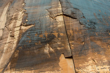 Petroglyphs On The Desert Walls Of Moab, Utah.  Ancient Indian Artwork