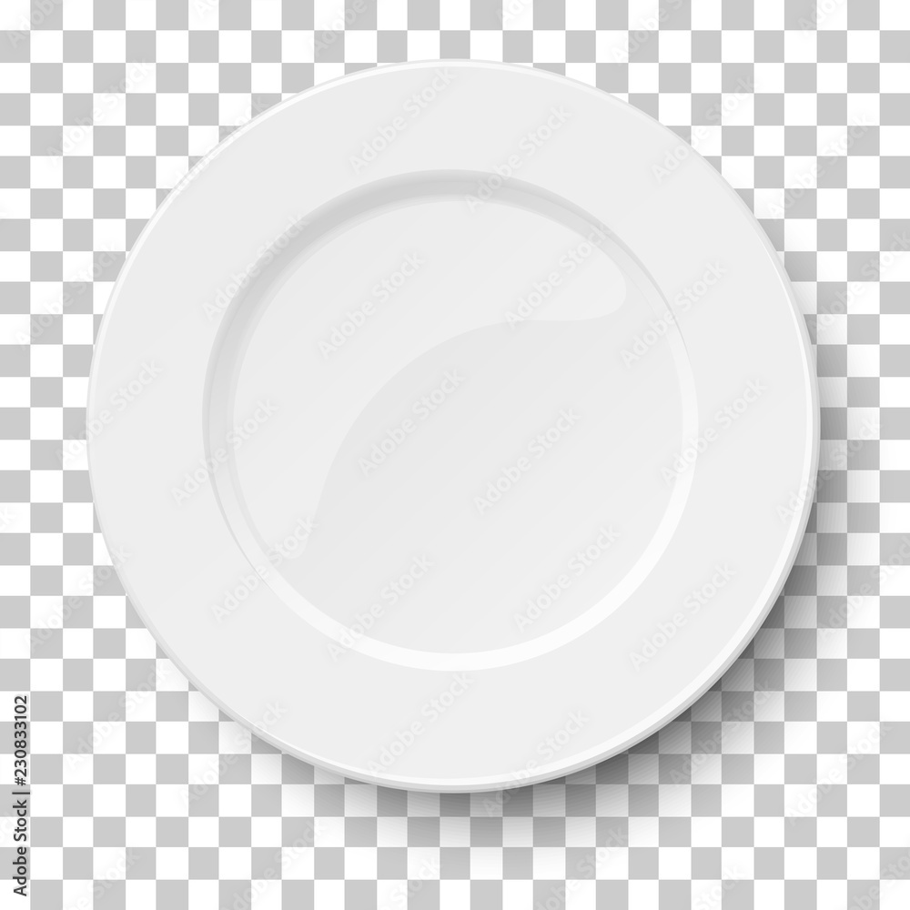 Fotografie, Obraz Empty classic white plate isolated on transparent background