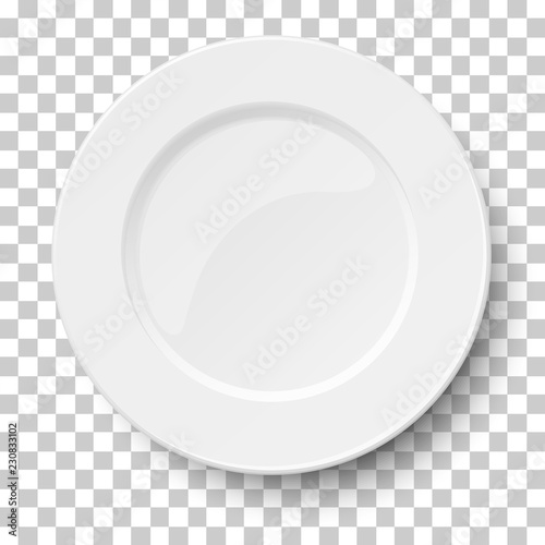 Empty classic white plate isolated on transparent background Fototapeta
