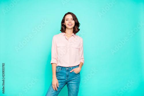 Fotografía  Portrait of nice cute cheerful cheery slim attractive charming c