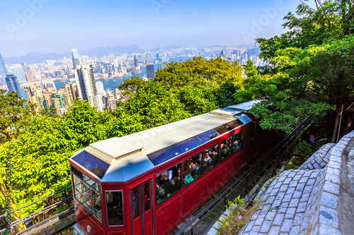 fototapeta na ścianę The Peak Tram is a funicular railway in Hong Kong leading to the highest point of the island: the Victoria Peak.