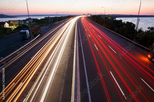 Deurstickers Nacht snelweg traffic on highway at night