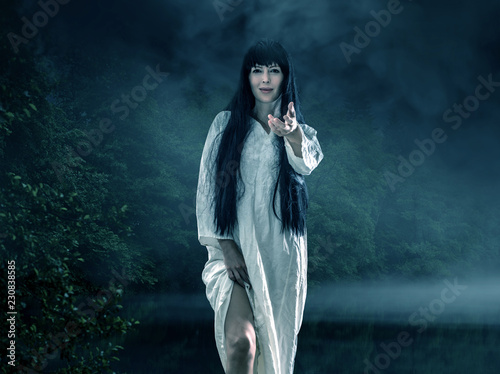 Halloween scary brunette woman with long hair Wallpaper Mural