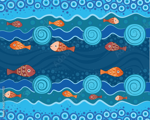 Aboriginal Dot Art Painting With Fish Underwater Concept Landscape