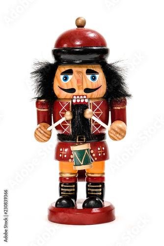 Fotografía  Merry Christmas: Traditional colorful vintage wooden nutcracker little drummer b