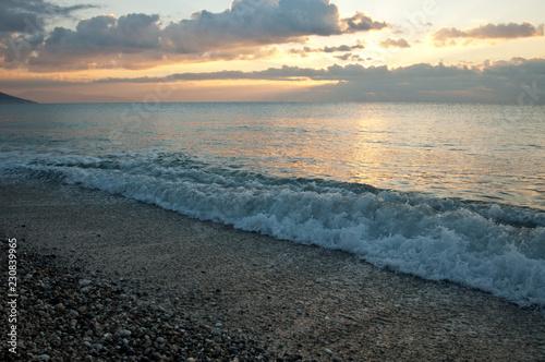 Poster Bleu nuit Sunset on the sea coast of the mediterranean sea