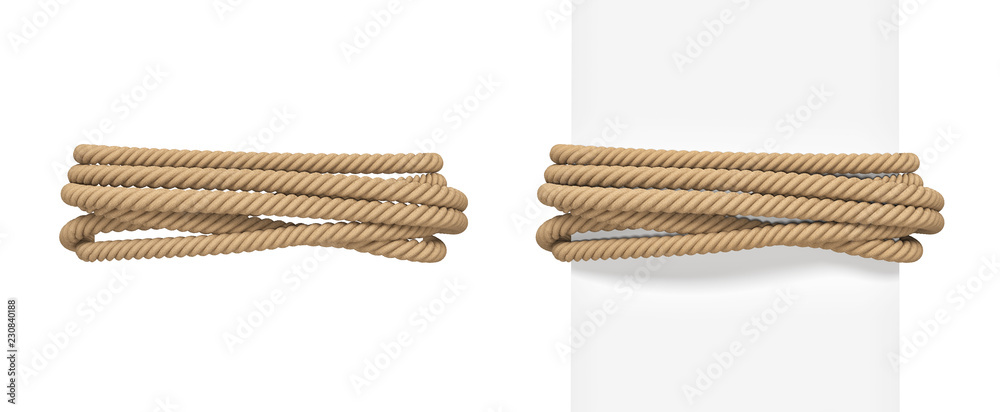Fototapety, obrazy: 3d rendering of brown rope bound around a wide white post and around empty space.