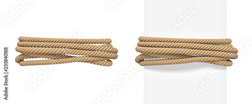 3d rendering of brown rope bound around a wide white post and around empty space Canvas Print