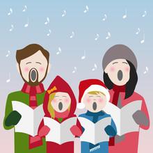 Family Singing Christmas Carols